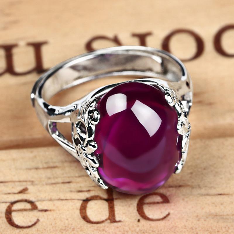 Fashion- خمر المرأة 925 التايلاندية خاتم فضة العقيق المجوهرات الملكية بأسعار معقولة قابل للتعديل خواتم خاتم للنساء هدية