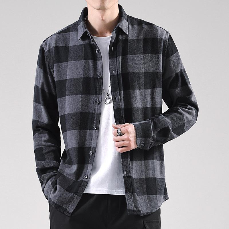 Primavera otoño hombres camisas Plaid Vintage Casual Turn-down cuello de algodón de manga completa salvaje camisas macho lijado