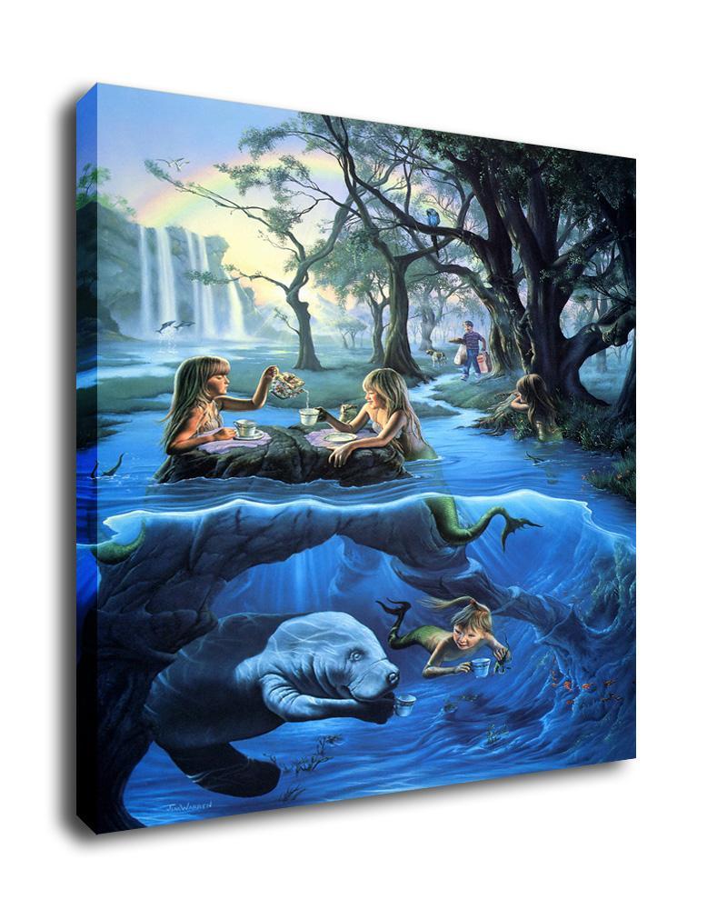 "Jim Warren Art Oil Painting Print On Canvas Home Decor/""Mermaid Tea Party/""Framed"