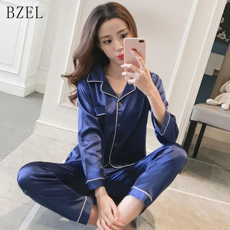 BZEL Молодая девушка с длинным рукавом Silk Satin Pajamas для женщин Сексуальная ночная рубашка вскользь домашний сервис для домашнего обслуживания спать 2 шт. / Установите большой двор M-5XL