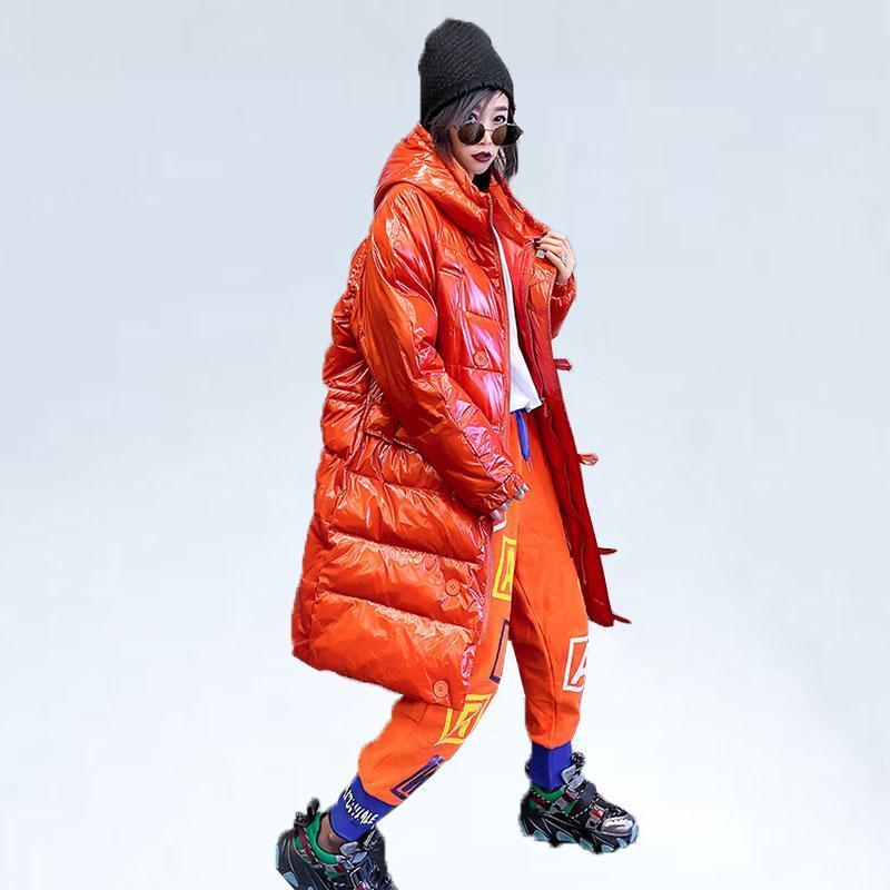 Kış Uzun Ceket Down Kadınlar Pamuk Ceket Parlak Sıcak Parka Kapşonlu Daha kalın Vintage Coat Kadın Tam Kol Streetwear Dış Giyim