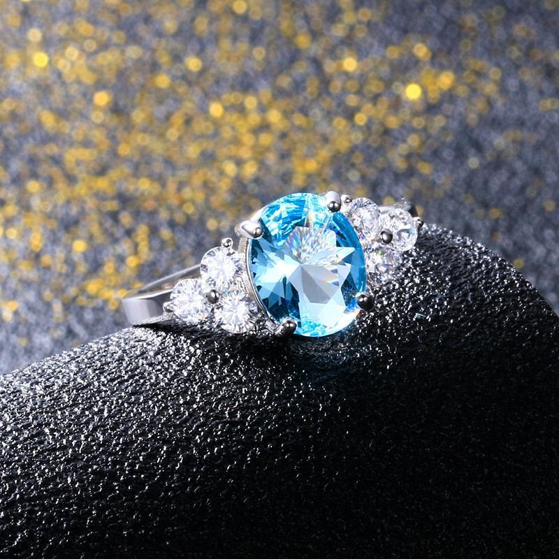 Multicolor Ringe Frauen mit ovalen Edelstein Topaz Steinen 925 Sterling Silber Schmuck Ring Hochzeit Weihnachtsgeschenk Großhandel