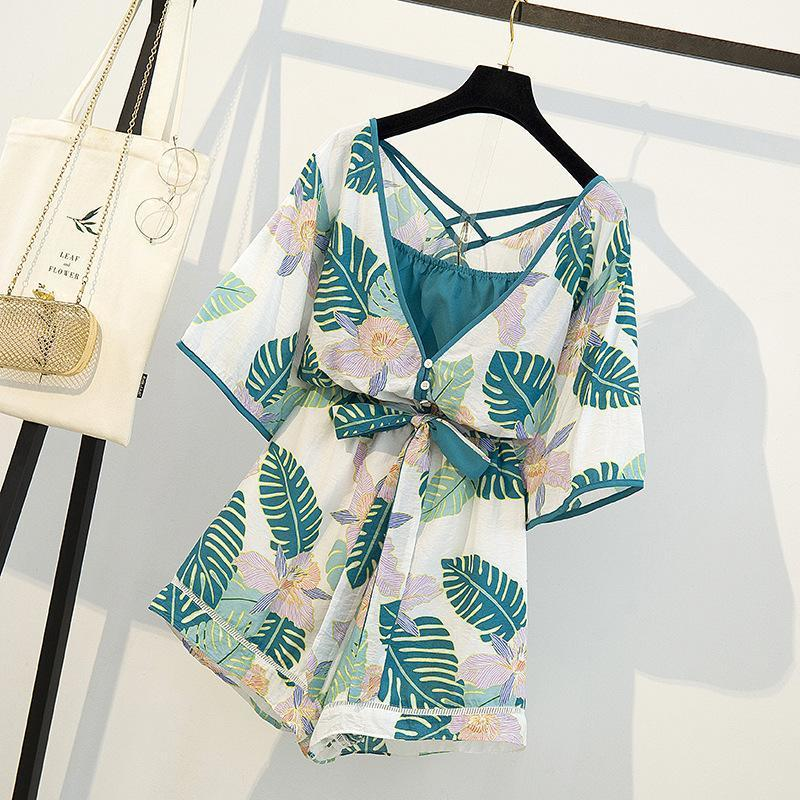 ICHOIX M-4XL Bohemian macacãozinho mulheres 2 pedaço definido floral de praia além de definir o tamanho roupas de algodão de linho fatos para brincar verão 2 pedaço roupas T200617