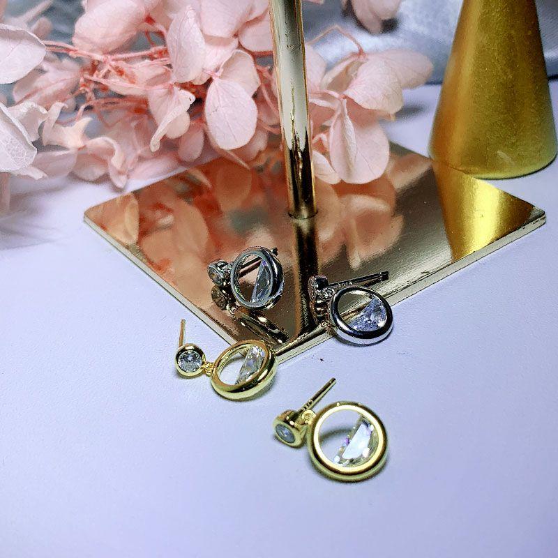 S925 silver earrings for women diamond round sweet geometric hollow hollow semicircular earrings