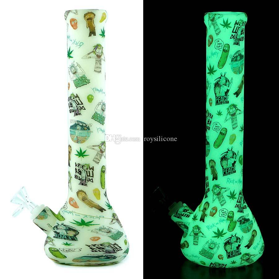 Glow in the dark water pipes beaker design dab rig silicone hookah unbreakable hookah filter glass bong FDA silicone smoking