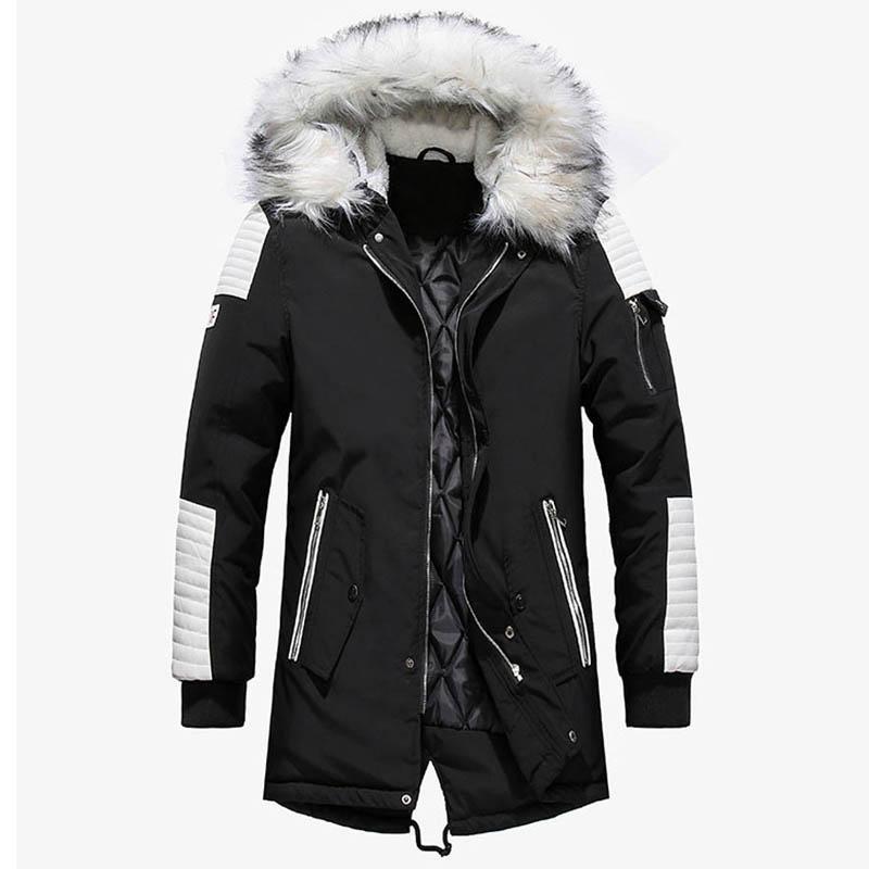 Marque New hiver Veste Hommes Épaissir chaud Parkas Casual long Outwear Vestes et manteaux col à capuche Homme Veste homme gros