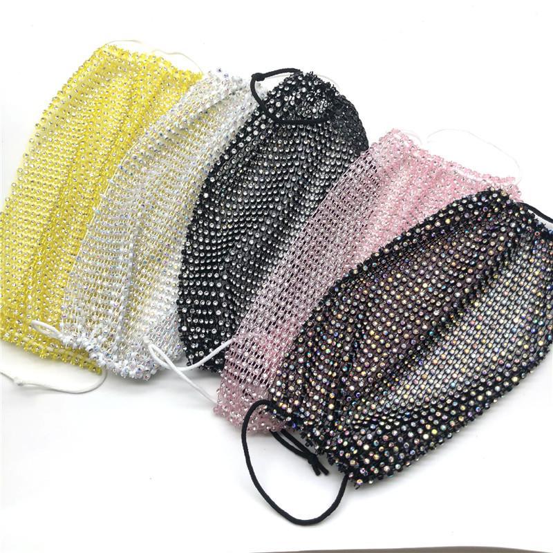 Bling Bling del diamante de la mascarilla tendencia de la moda Discoteca Bar Rhinestones Máscaras reutilizables y lavables Pesca en la máscara de red de la cara Envío gratuito