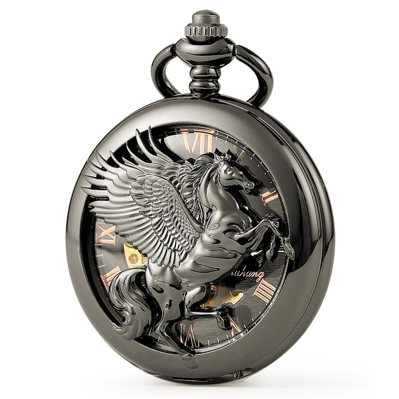 2019 Moda Preto Pegasus Padrão Oco Subiu Mostrador Numeral Romano Mens Mens Mecânica Relógio de Bolso Homens Relógio de Presente C446
