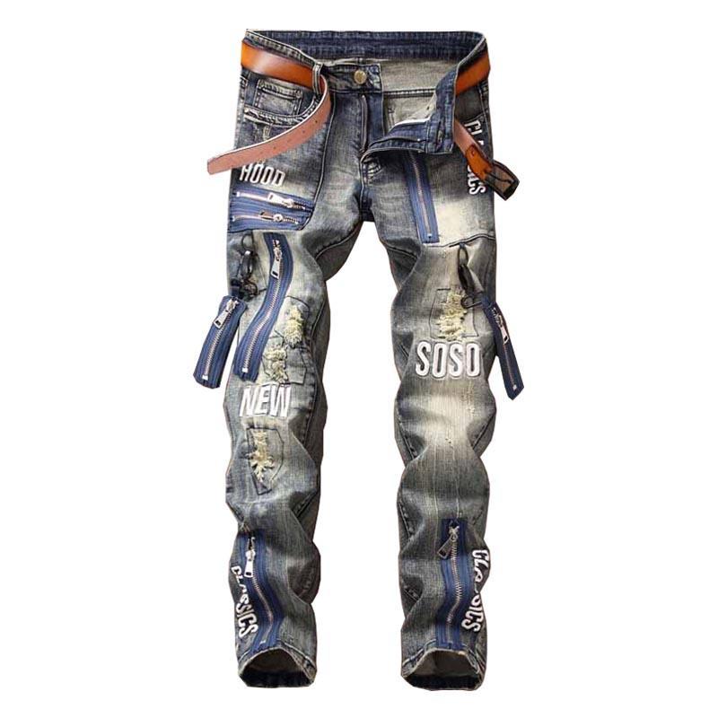 Hip Hop hombres de la moda jeans rasgados Pantalones Multi cremallera del remiendo del dril de algodón Pantalones de masculino Carta bordado