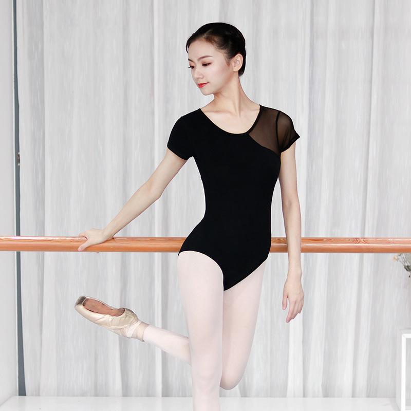 Взрослых женщины балетных трико Гимнастика трико Bodysuit Stretch Mesh сращивание Балет Танцевальная одежда Одежда