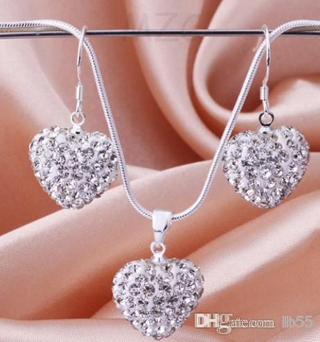 Best Gift Heart Crystal Necklace Earring Set Silver plated Jewelry Rhinestone Disco Crystal Bead Necklace women jewelry Gift