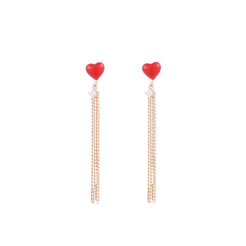 Frauen Art und Weise Zircon-Kette Quaste Ohrringe für Frauen Rose Gold rotes Herz baumeln lang Ohrring-Mädchen Weihnachtsgeschenke