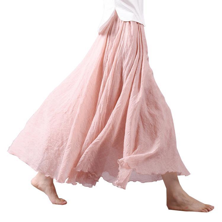 2018 Diseño de Moda de Verano de Las Mujeres Falda de Lino de Algodón de La Vendimia Faldas Largas Cintura Elástica Boho Beige Rosa Maxi Faldas Faldas Saia Y19050602
