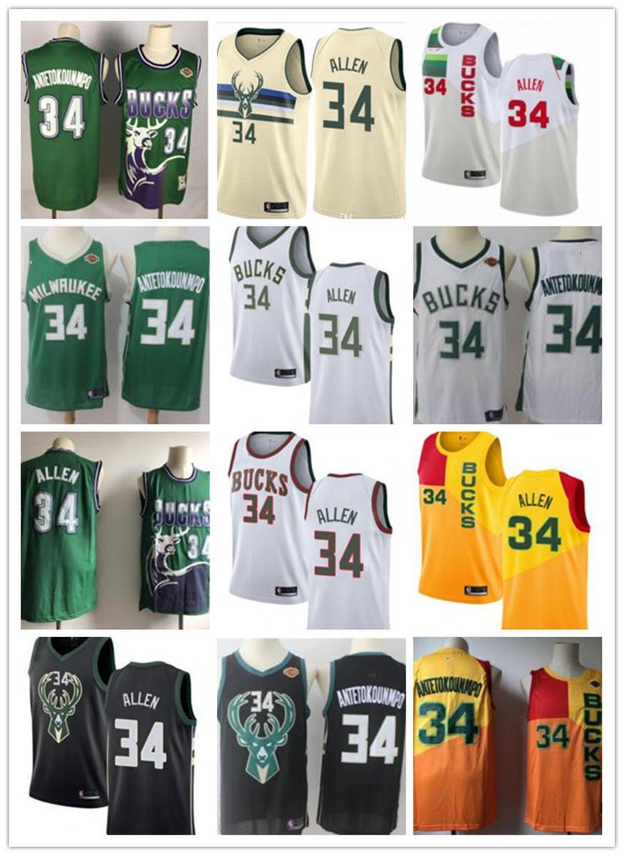 freie Schiff Frauen Jugend Mens Milwaukee # 34 Ray Allen Giannis 34 Antetokounmpo Throwback Basketball Jerseys, Weiß, Gelb, Schwarz, Grün Buck