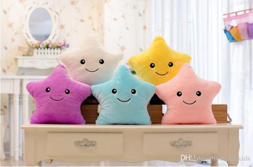 40*35CM Colorful LED Flash Light Stuffed Dolls Five Star heart Pillows Bear paw Plush Toys For Girlfriend Christmas Gift