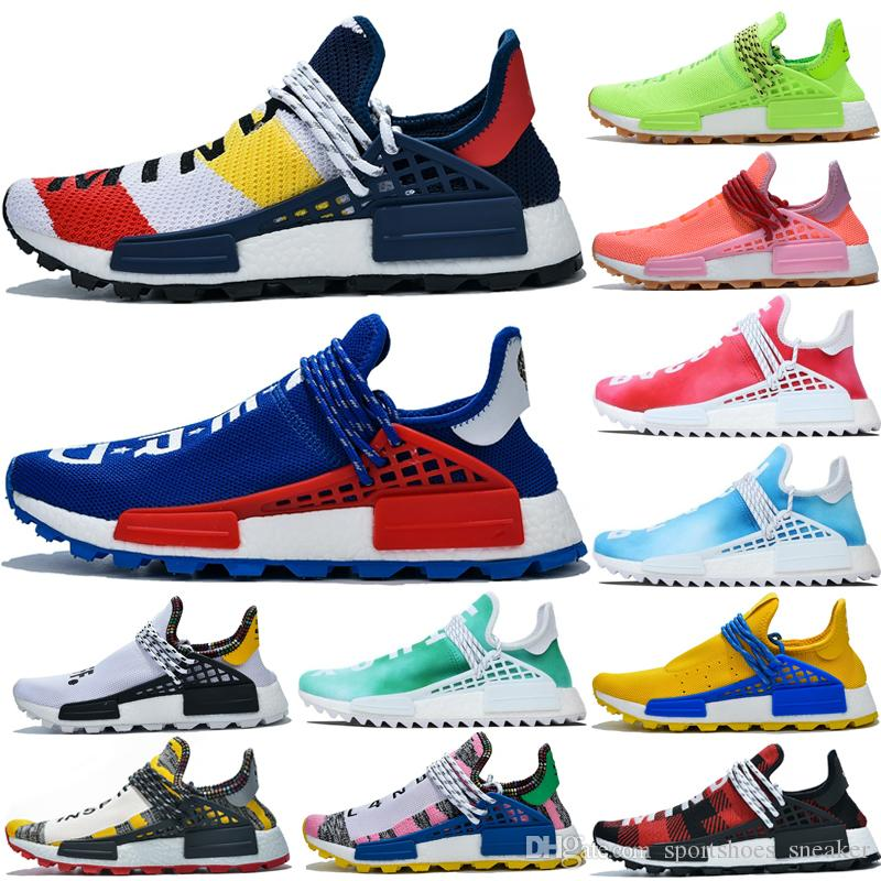 2019 Pharrell Williams NMD Human Race Chaussures de sport BBC solaire pack Jaune Bleu Nerd Coeur esprit des femmes des hommes de sport Chaussures de course pour Taille 36-47