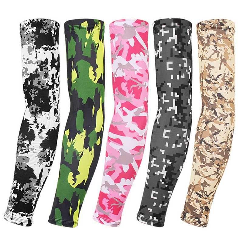 15 colores de camuflaje brazo de la manga de protección solar UV refrescan brazo de la cubierta de ciclo al aire de funcionamiento refrigeración Parasol Cubierta del codo