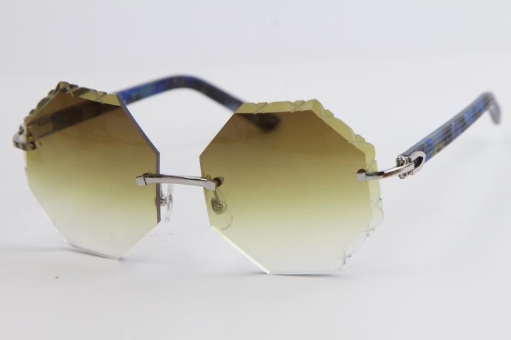 도매 판매 무테 선글라스 금속 믹스 블루 판자 4189706 대형 광장 안경 고품질 안경 남성과 여성의 핫 격자 무늬