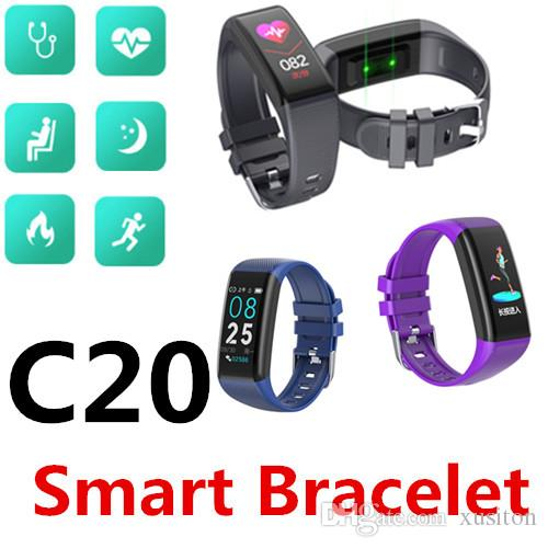 C20 Smart Bracelet Bluetooth Waterproof Heart rate Support female cycle Mobile phone search Sleep&Fitness tracking Health sharing 50 Packs