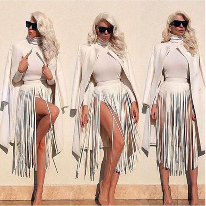 Cinturón de borla con flecos de cuero bohemio Cinturones de imitación blancos y negros 2017 Mujeres Cintura alta Cinturón ancho Cintura larga Moda Niñas Pantalones Banda