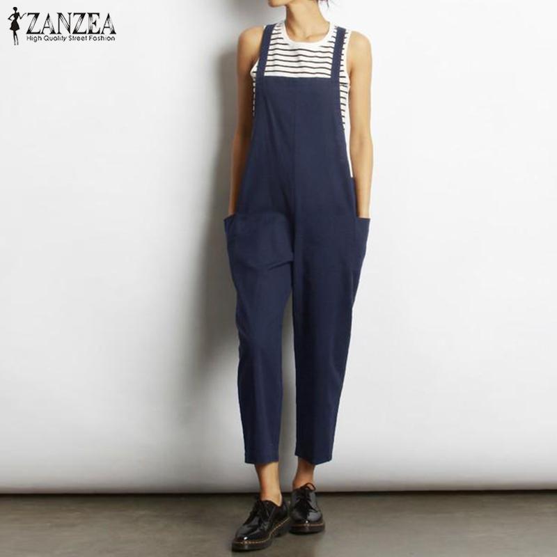 Artı Boyutu Tulum Tulumlar kadın Playsuits 2019 ZANZEA Vintage Yaz Keten Pantolon Kadın Kayış Tulum Pantalon Palazzo 5XL