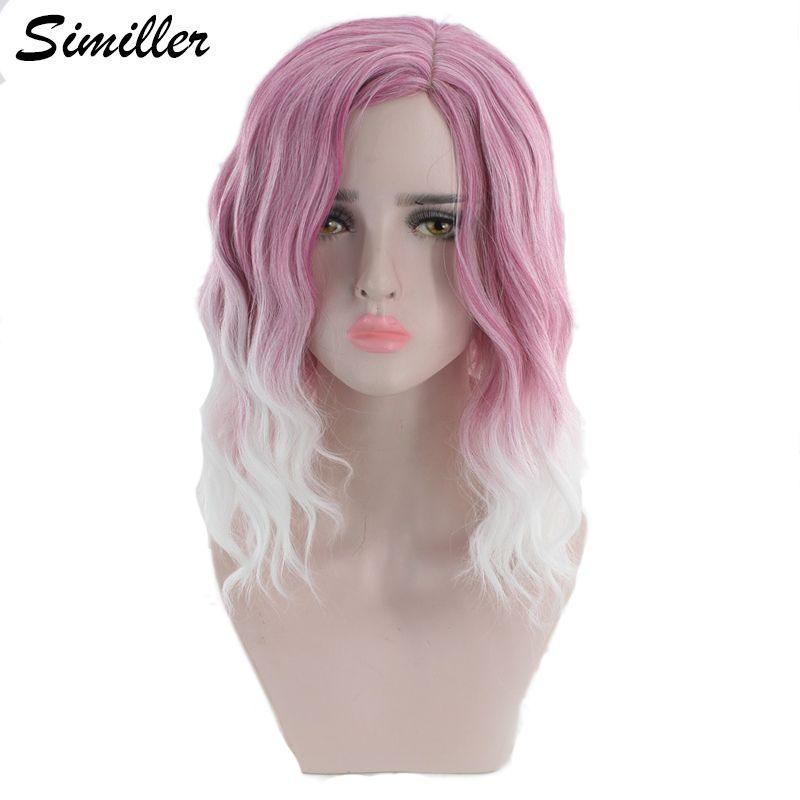 Similler Ombre Fideos rizado peluca sintética para mujeres rosadas de alta temperatura de fibra cortocircuito mullido pelucas Mujer T Blanco Dos Tonos