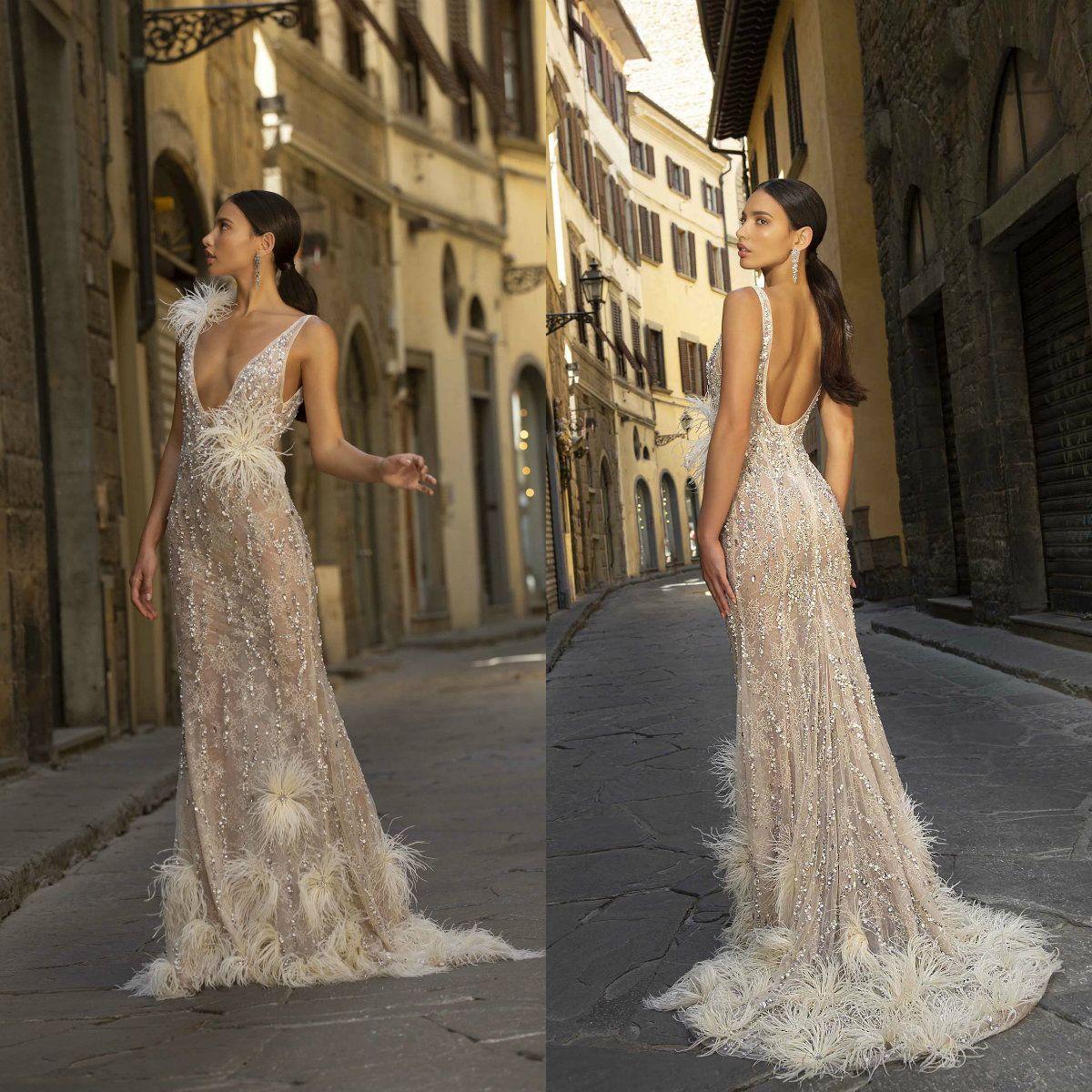 2020 Berta Abiye Dantel Boncuk Pullarda Tüy Derin V Yaka Denizkızı Abiye Seksi Backless Custom Made vestidos de Quinceañera