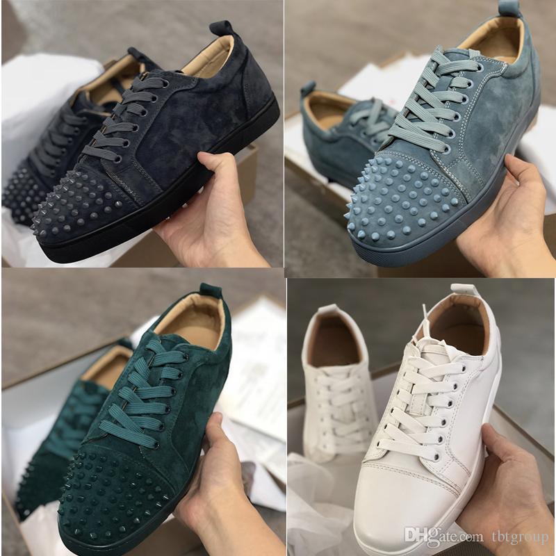 Дизайнер кроссовки Красное дно Шипы плоские велюры замшевые кроссовки железо серый мужчины тренеры 100% натуральная кожа партия обувь США 5-12.5