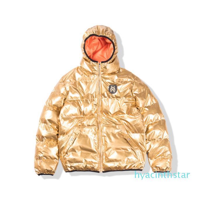 De manga larga con capucha Casual Tamaño de la chaqueta del suéter de los hombres de la chaqueta de invierno Oro algodón con capucha de los hombres de M L XL XX