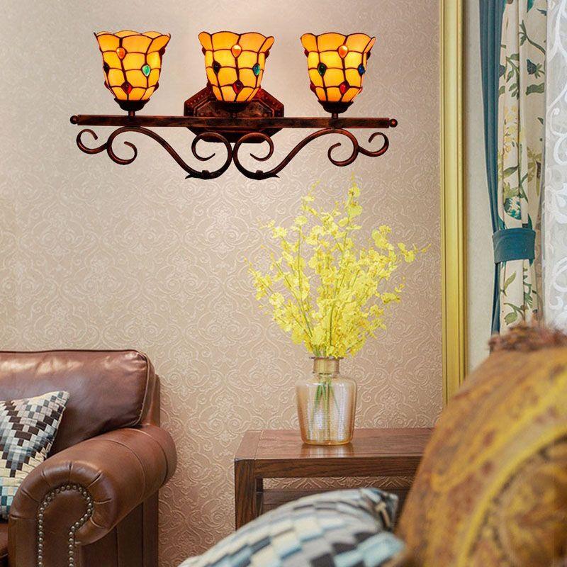 مصابيح الأمريكي الرجعية مرآة مصباح تيفاني على غرار الجدار ثلاثة رأس الممر شريط مطعم الزجاج الملون جدار lightsTF096