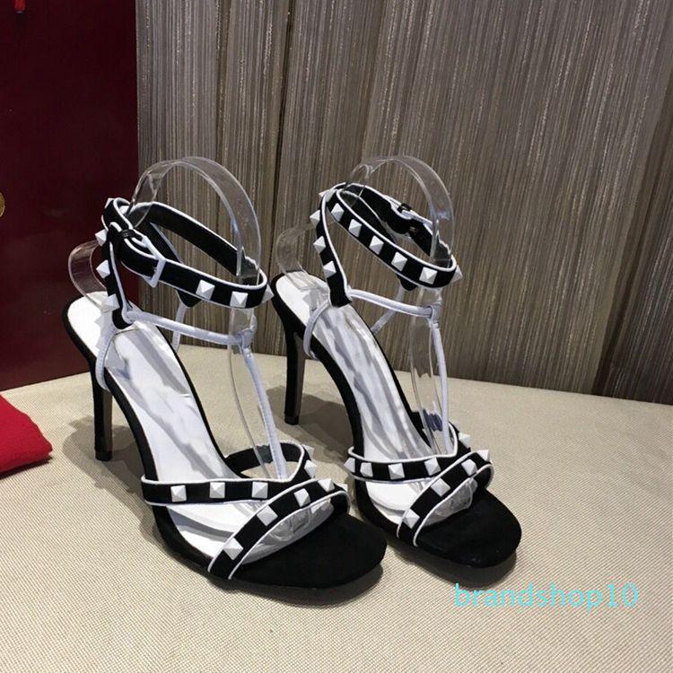 Classique Femme Cuir Rivet Sandales de luxe de design sexy haut-Chaussures à talons Point d'éclair Fine-Chaussures à talons haut-talons