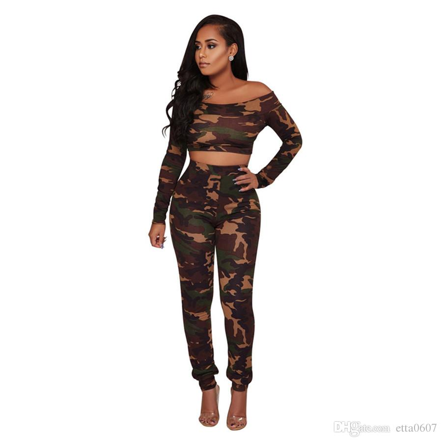 Women Sexy Off Shoulder Two Pieces Outfit Casual Camouflage Slim Fit Crop Top Long Pants 2 Piece Jumpsuit Night Club Party Wear