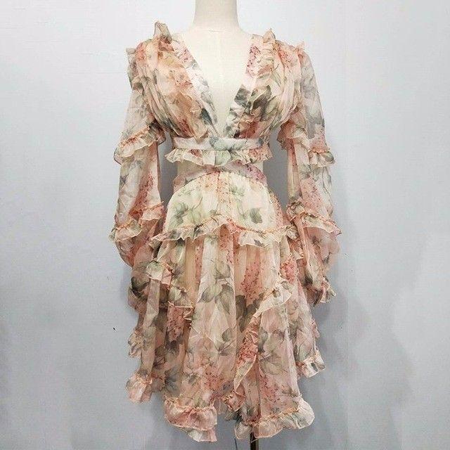2019 쉬폰 프린트 드레스 여성을위한 섹시한 V 넥 랜턴 슬리브 하이 웨이스트 홀드 아웃 미니 드레스 패션 의류 New