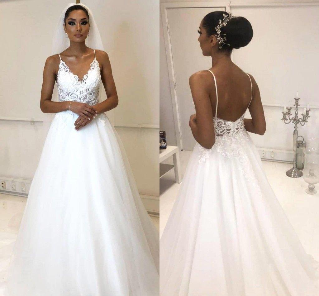 2020 White Lace Spaghetti Bohemian Wedding Dress Cheap A-line Lace Appliqued Tulle Open Back Beach Boho Plus Size Bridal Gown BC2187