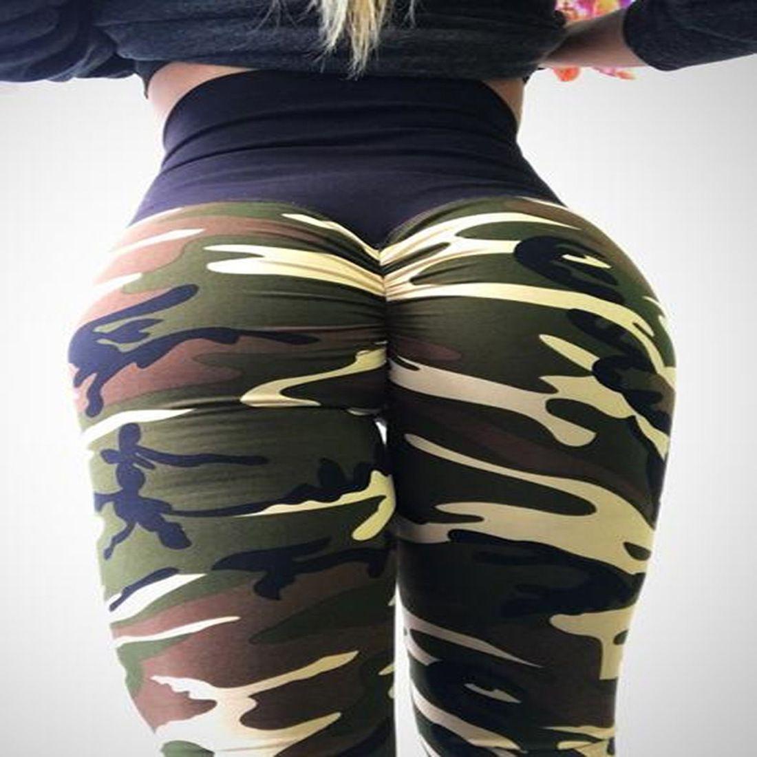 Bayan Için Kamuflaj Seksi Spor Spor Ince Tozluk Kadın Rahat Yüksek Bel Pileli Jogging Yapan Elastik Sıska Pantolon