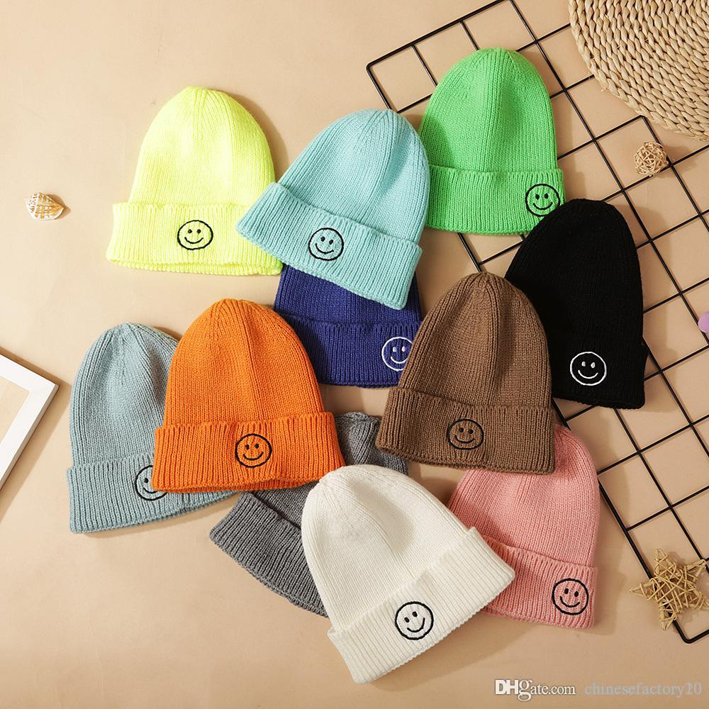 14 Colors Knit Kid Crochet Beanies Baby Girl Boy Hat Winter Smile Warm Stretchy Caps New