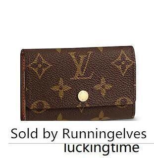 M62630 6 TITULAR DE BROWN bolsa de la moneda TENEDORES DE LA LLAVE bolso de la carpeta fruncen Mini Embragues exóticos TARDE cadena bolsas de la correa