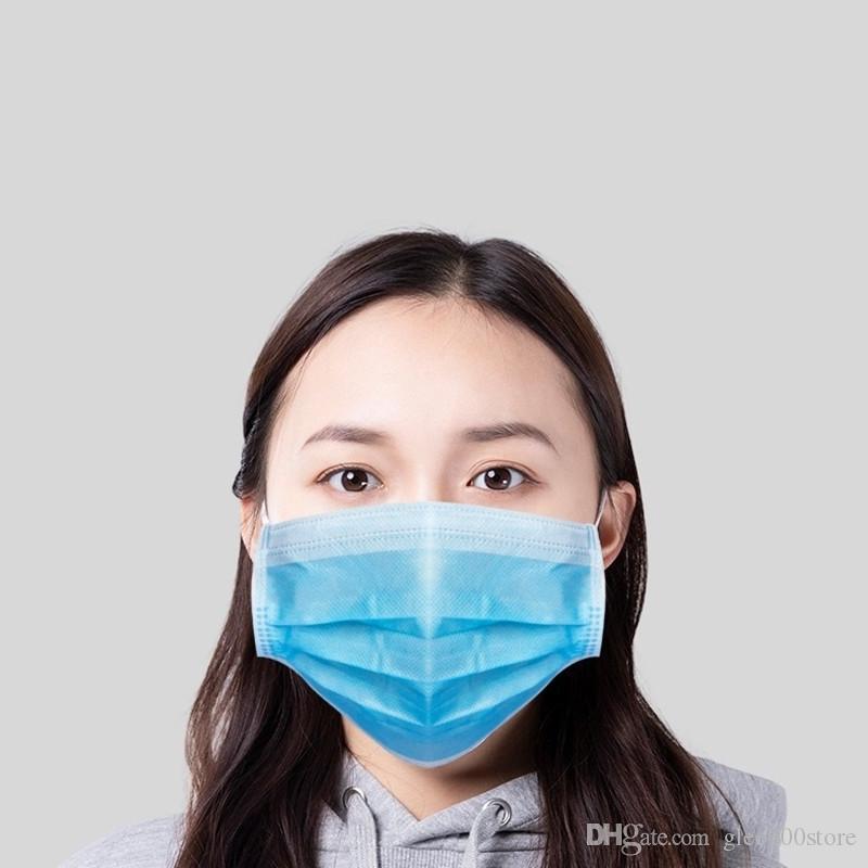 Fabrika toptan tek kullanımlık koruyucu yüz maskeleri 100 adet maskeleri mavi renk 3 katmanlar dokunmamış kumaş eriyik-üflemeli kumaş maske