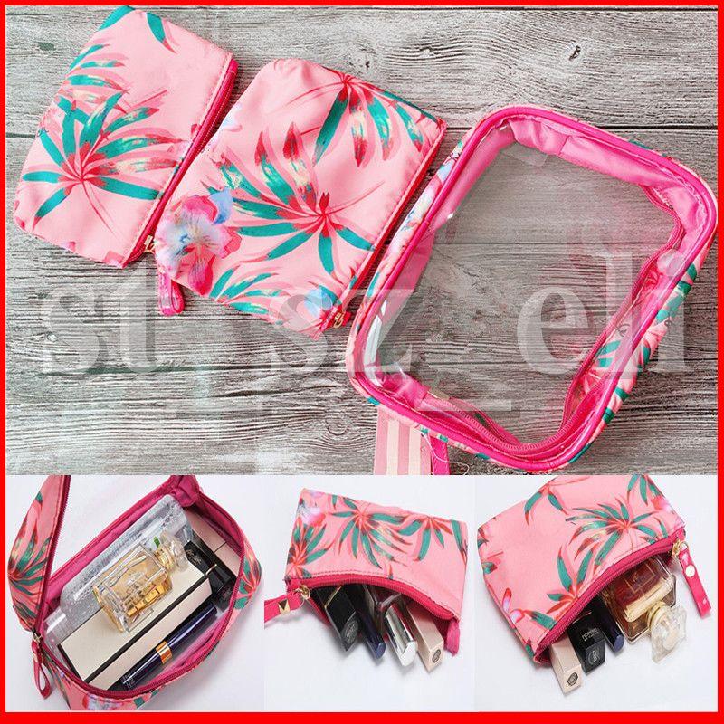 Bolsos cosméticos de PVC para mujer Potable 3 en 1 Bolsas de almacenamiento de lápiz labial Cremallera impermeable Bolsa de lápiz Bolsas de maquillaje