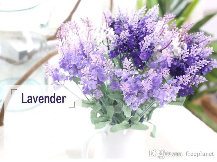 2019 10Heads искусственная лаванда букеты 3 цвета пены цветок для свадьбы / партии / украшения дома Weddingzone при условии искусственный цветок