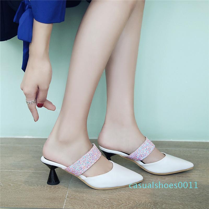 Tamanho 33-44 Mulheres dedos apontados retalhos Shoes Senhora do escritório Vestido Lazer Chinelos Mulher sapatos de saltos de sapatos ao ar livre fêmea