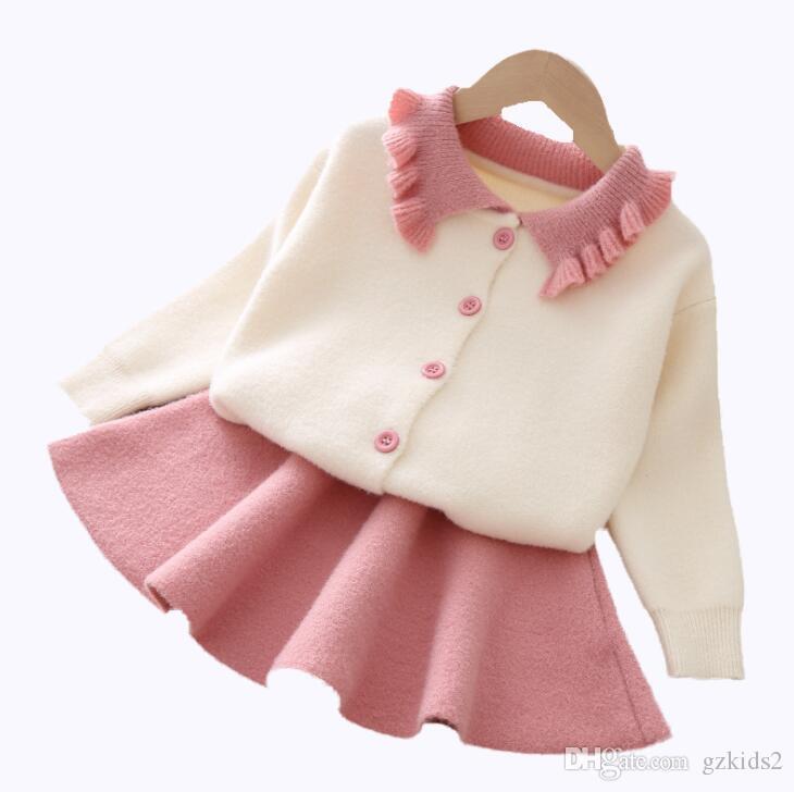 Pull fille jupe costume coréen costume tricoté deux ensembles pour bébés filles rose orange 2 couleurs livraison gratuite