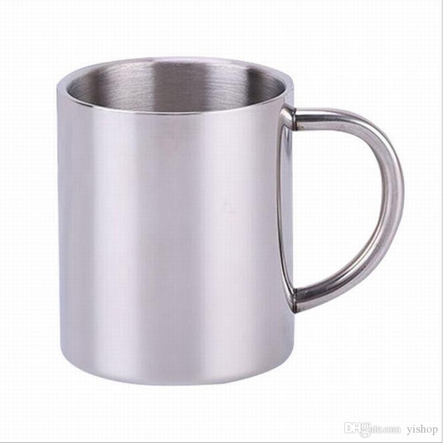 300ML Stainless Steel Coffee Mug Double Tea Cup Camping Travel Beer Cup Milk Espresso Insulated Shatterproof Children Cup with Holder