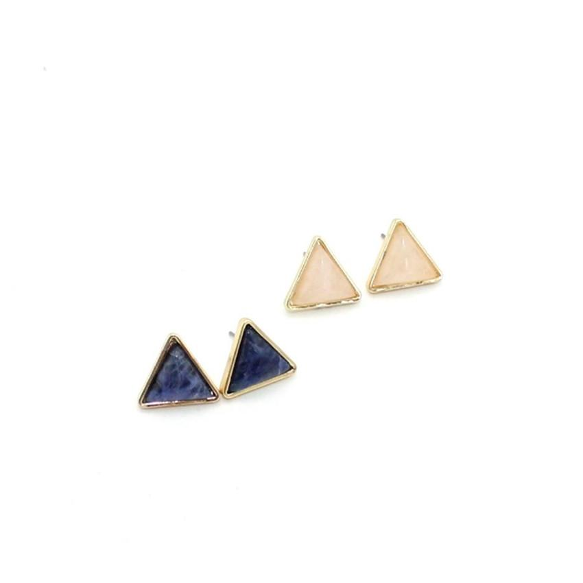 Wholesale 10 Pairs Trendy Gold Plated Triangle Malachite Stone Stud Earrings for Women Rose Quartz Jewelry