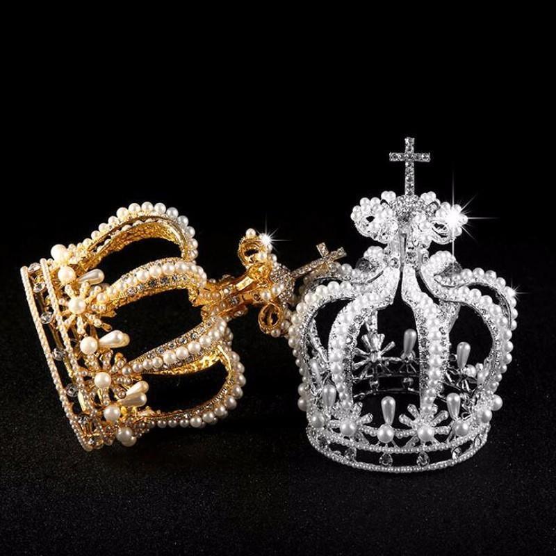 Luxury Bridal Hair Accessories Cross Baroque Styles Vantage Crystal Pearl Wedding Crown Alloy Bridal Tiara Baroque Queen Crowns Y19051302