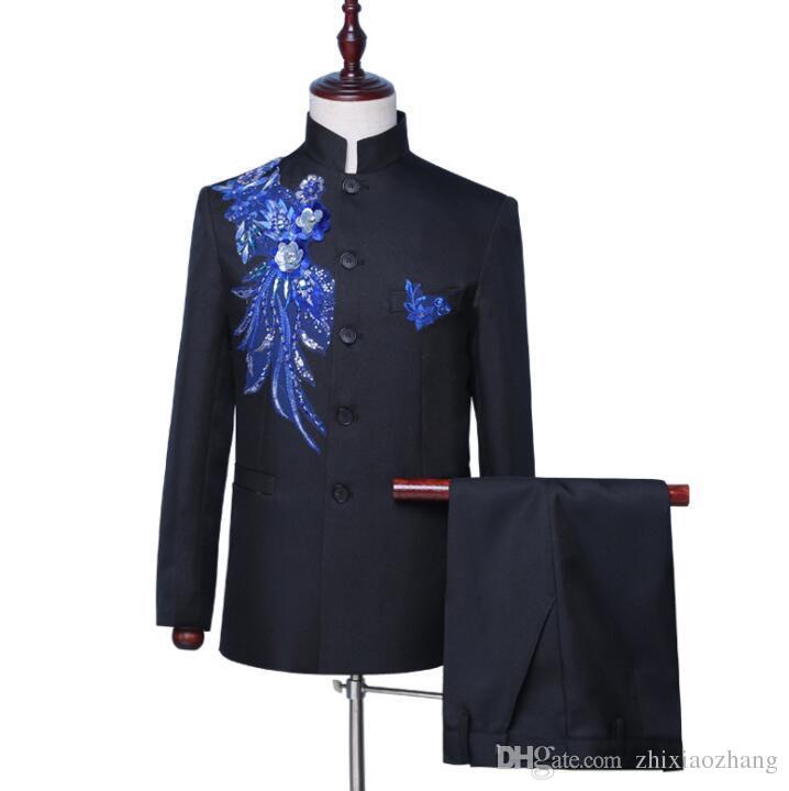 Липкие цветок блейзер мужчин китайский колет костюм набор с брюками мужские свадебные костюмы стоять воротник певица этап одежда вечернее платье