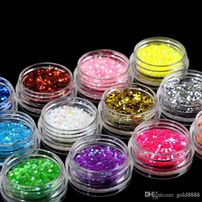 12 couleurs / set ongles Glitter Flakes Sparkly 3D colorés Paillettes Paillettes Décorations Art Nails Manucure polonais