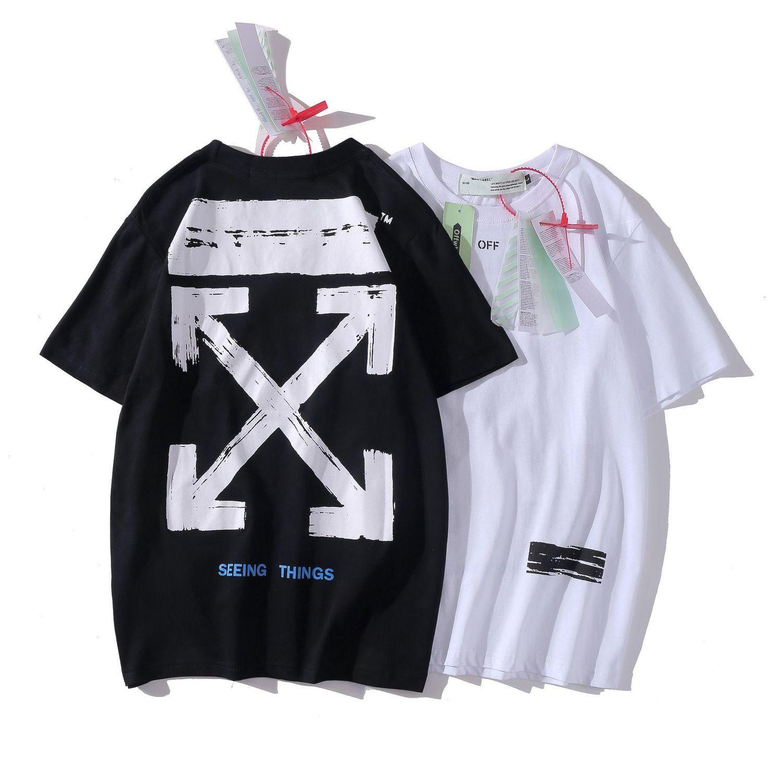 20off Calle de marea Fundamentos Párrafo Flecha pintada blanca del desgaste del verano los hombres y las mujeres fáciles Hip Hop camiseta de manga corta camiseta de H2MD