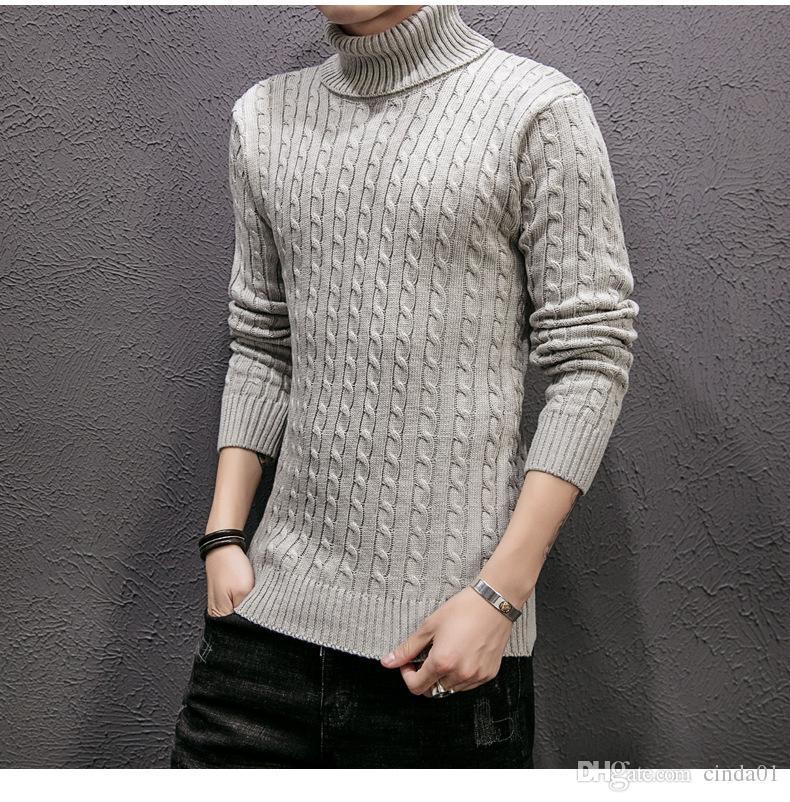 Maglione lavorato a maglia da uomo Casual Maglione a collo alto invernale da uomo Maniche lunghe in lana Camicia Atutumn Uomo Slim Fit Pullover