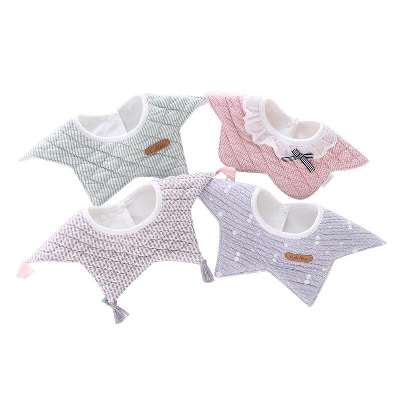 100% baumwolle wasserdicht baby lätzchen mode rundhals baby mädchen lätzchen 360 grad flower star lätzchen für mädchen baby mädchen kleidung